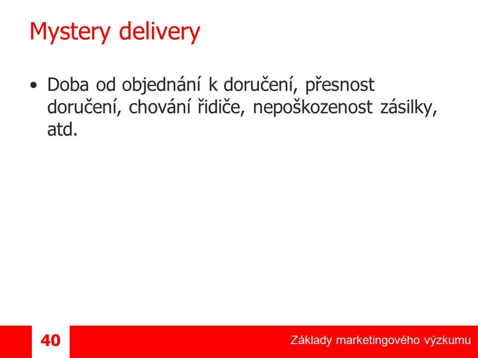 Základy marketingového výzkumu 40 Mystery delivery Doba od objednání k doručení, přesnost doručení, chování řidiče, nepoškozenost zásilky, atd.