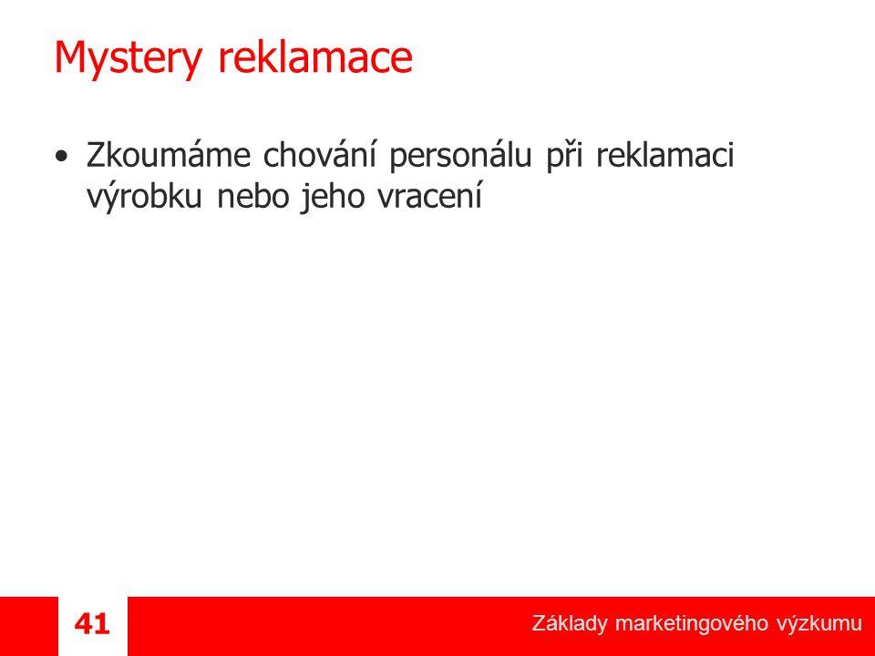 Základy marketingového výzkumu 41 Mystery reklamace Zkoumáme chování personálu při reklamaci výrobku nebo jeho vracení