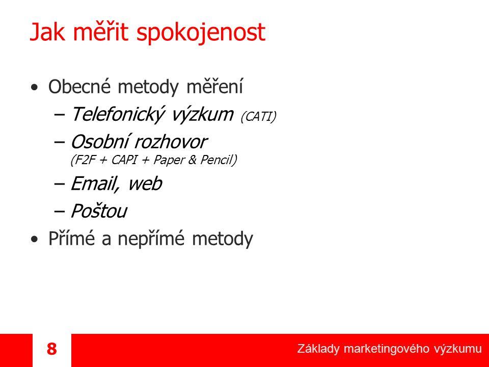 Základy marketingového výzkumu 9 Jak měřit spokojenost / CATI Telefonický výzkum + Pravděpodobně nejpoužívanější + Levný a rychlý + Jednoduše administrovatelný a kontrolovatelný + Většinou známe telefonní čísla + Možnost přesného výběru dotazovaných + Možnost pravidelných trackingů