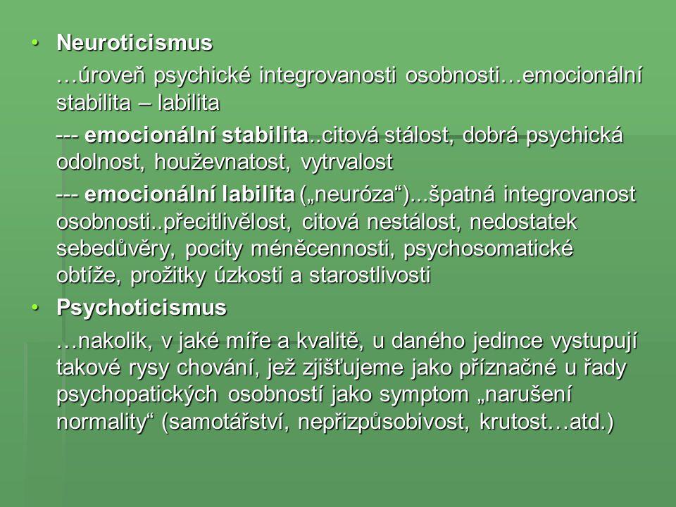 NeuroticismusNeuroticismus …úroveň psychické integrovanosti osobnosti…emocionální stabilita – labilita …úroveň psychické integrovanosti osobnosti…emoc