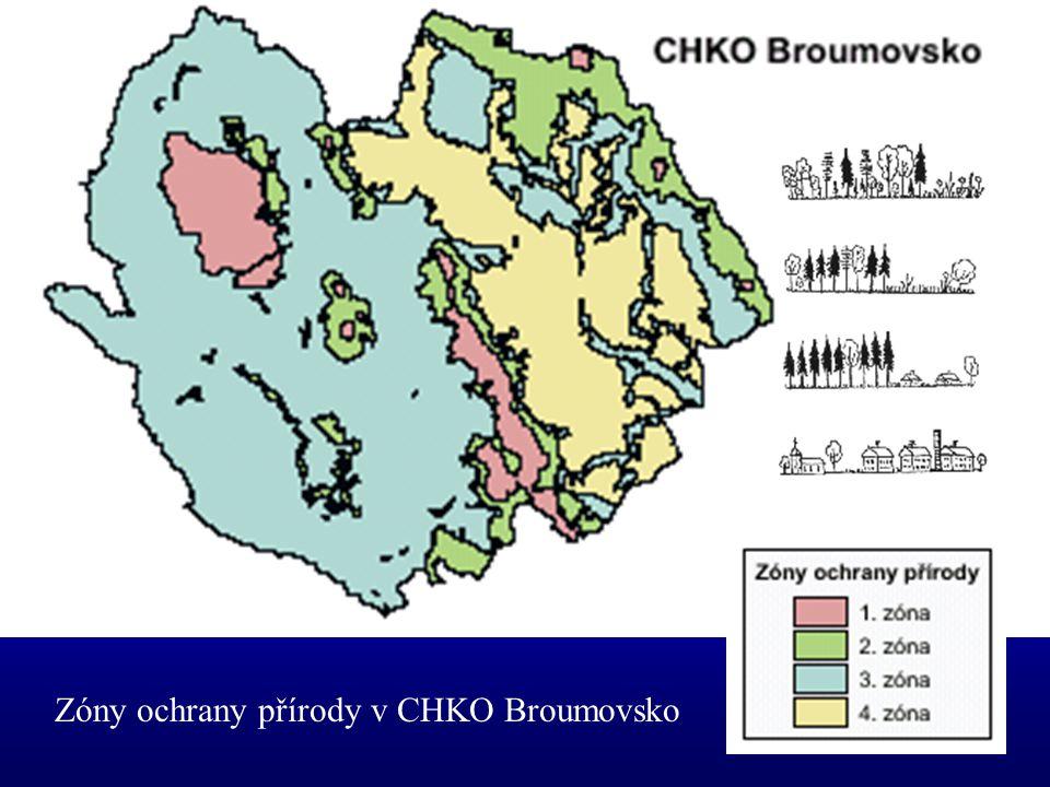 CHKO BROUMOVSKO Z celkové rozlohy 410 km² –les 39 % –trvalé travní porosty 18 % –orná půda 34 % –vodní plochy 2 %