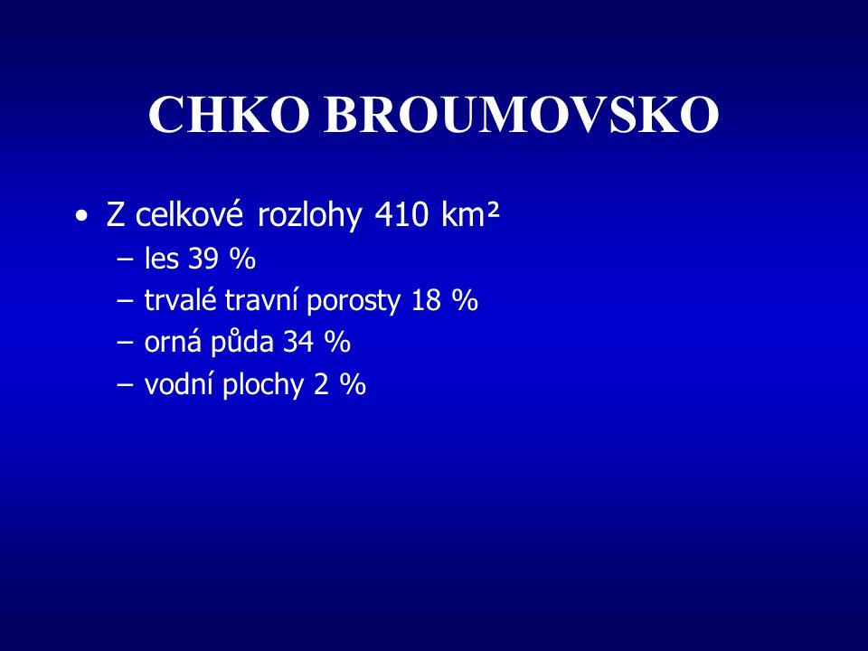 CHKO BROUMOVSKO 6 maloplošných chr.území - jejich celková rozloha činí 3067 ha –2 národní přír.