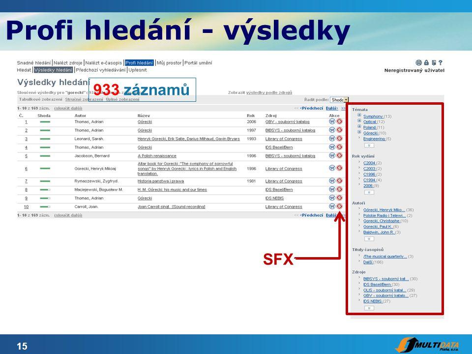 15 Profi hledání - výsledky SFX 933 záznamů