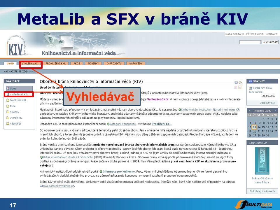 17 MetaLib a SFX v bráně KIV Vyhledávač
