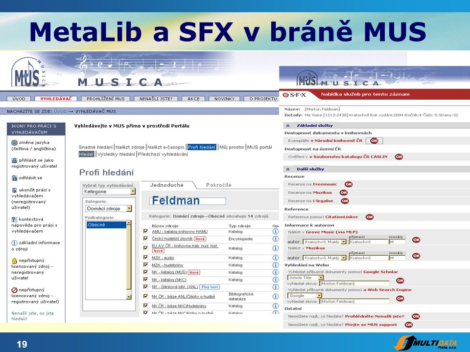 19 MetaLib a SFX v bráně MUS Feldman