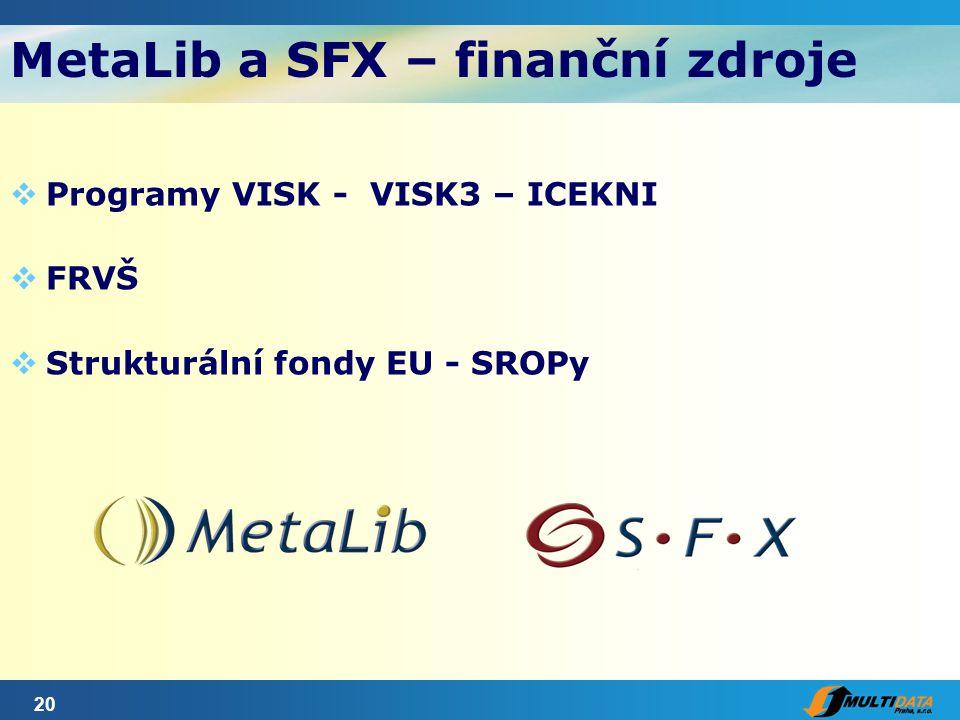 20 MetaLib a SFX – finanční zdroje  Programy VISK - VISK3 – ICEKNI  FRVŠ  Strukturální fondy EU - SROPy