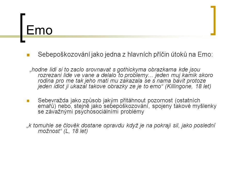 Emo Web využíván jako možnost spojit se s ostatními i přes velké vzdálenosti a domlouvat např.