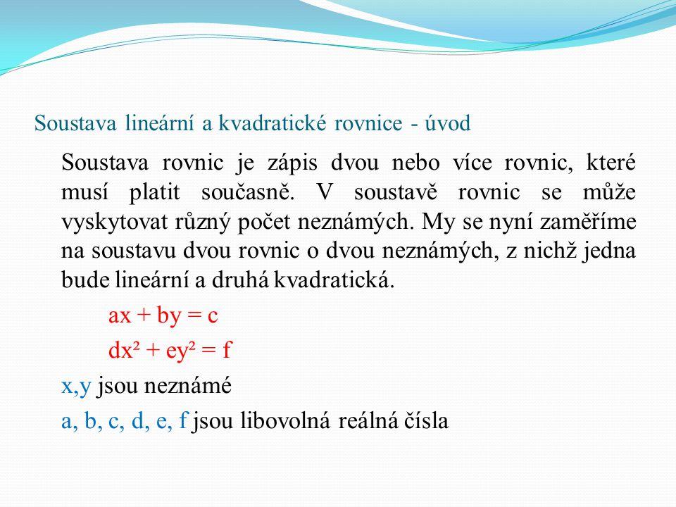 Soustava lineární a kvadratické rovnice - úvod Soustava rovnic je zápis dvou nebo více rovnic, které musí platit současně. V soustavě rovnic se může v