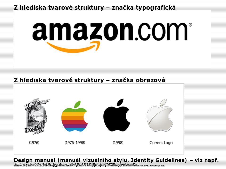 Z hlediska tvarové struktury – značka typografická Z hlediska tvarové struktury – značka obrazová Design manuál (manuál vizuálního stylu, Identity Guidelines) – viz např.