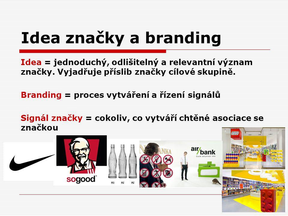 Idea značky a branding Idea = jednoduchý, odlišitelný a relevantní význam značky. Vyjadřuje příslib značky cílové skupině. Branding = proces vytváření