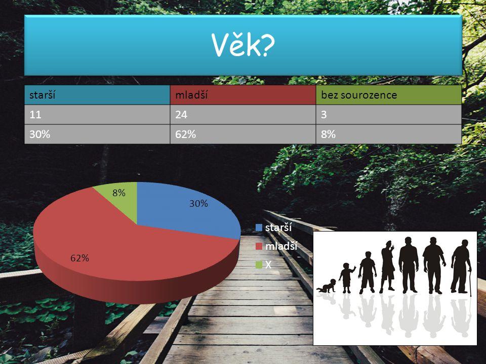Vzdělání? MŠZŠSŠVŠjinébez sourozence 4195253 11%49%14%5%14%8%