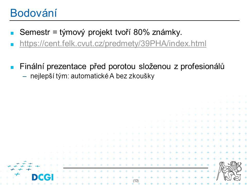 (13) Bodování Semestr = týmový projekt tvoří 80% známky.