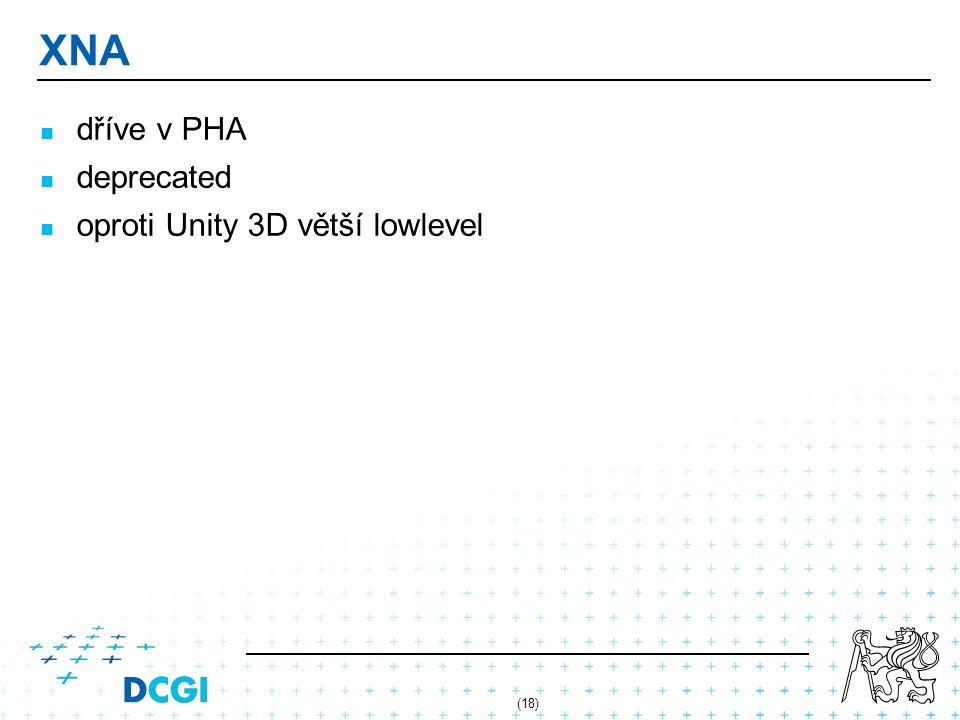 XNA dříve v PHA deprecated oproti Unity 3D větší lowlevel (18)