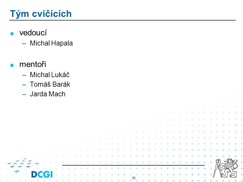(4) Tým cvičících vedoucí –Michal Hapala mentoři –Michal Lukáč –Tomáš Barák –Jarda Mach
