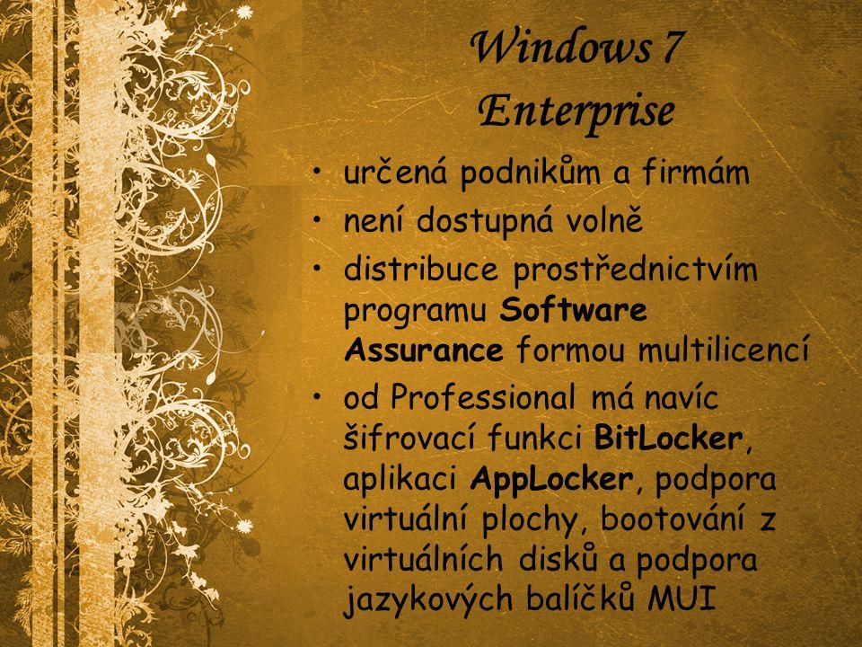 Windows 7 Enterprise určená podnikům a firmám není dostupná volně distribuce prostřednictvím programu Software Assurance formou multilicencí od Professional má navíc šifrovací funkci BitLocker, aplikaci AppLocker, podpora virtuální plochy, bootování z virtuálních disků a podpora jazykových balíčků MUI