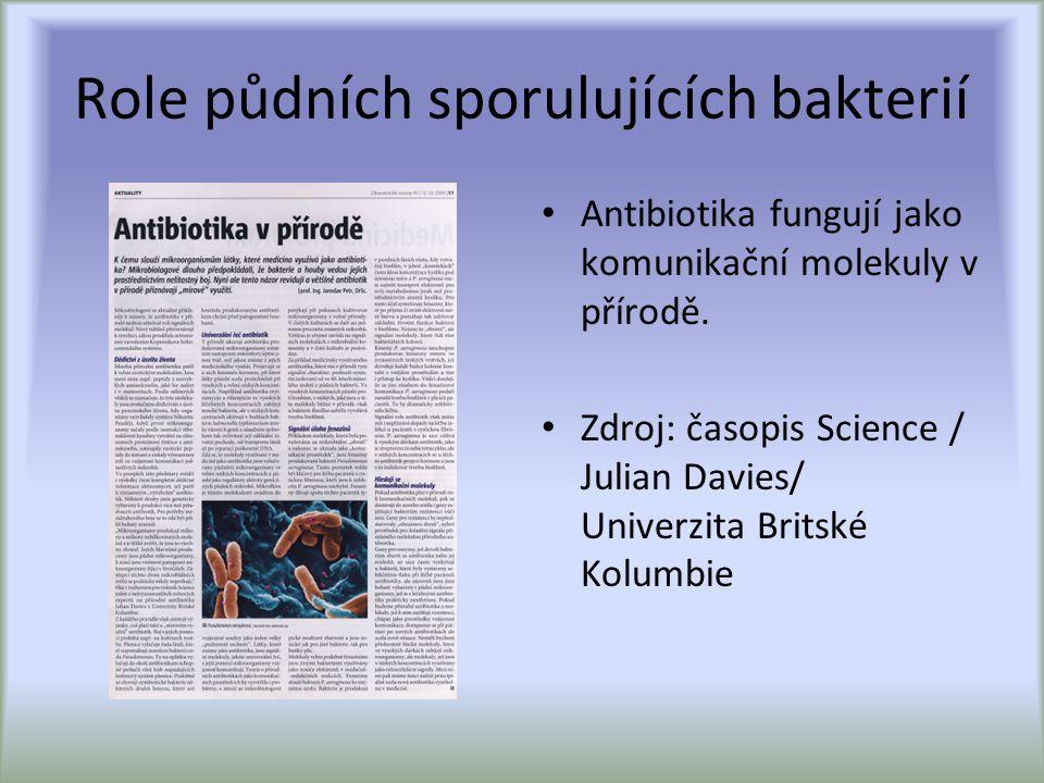 Role půdních sporulujících bakterií Antibiotika fungují jako komunikační molekuly v přírodě.