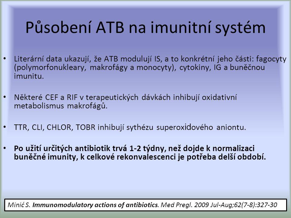 Působení ATB na imunitní systém Literární data ukazují, že ATB modulují IS, a to konkrétní jeho části: fagocyty (polymorfonukleary, makrofágy a monocyty), cytokiny, IG a buněčnou imunitu.