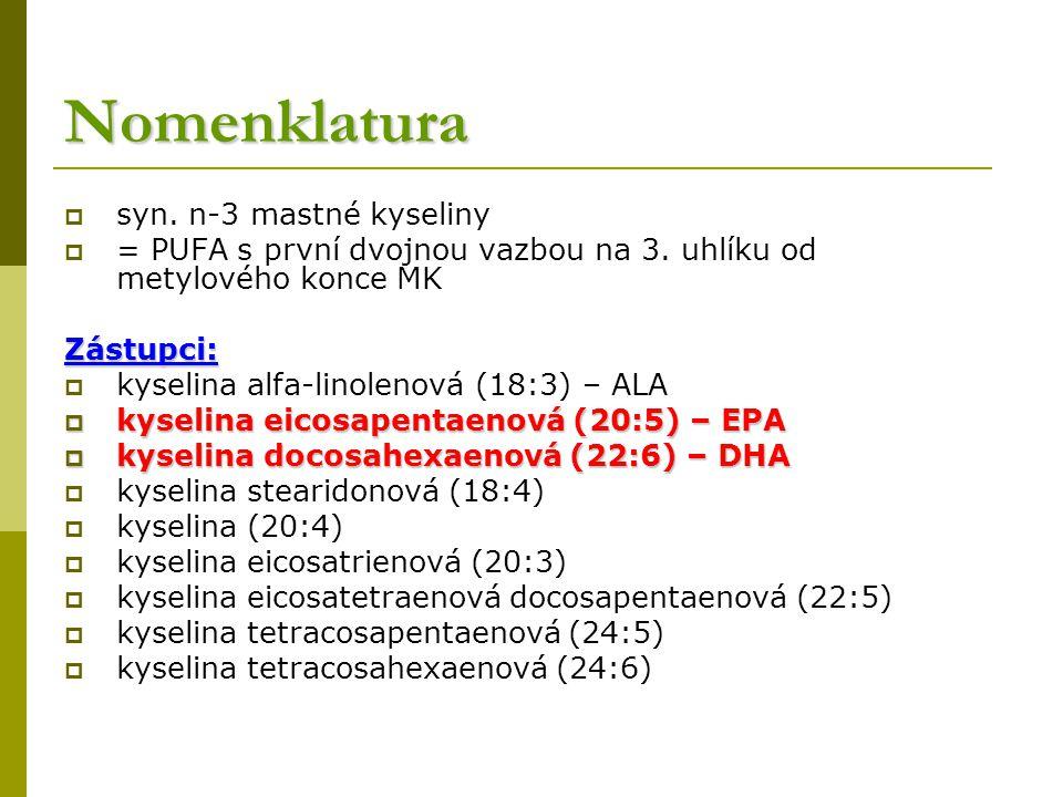 Nomenklatura  syn.n-3 mastné kyseliny  = PUFA s první dvojnou vazbou na 3.