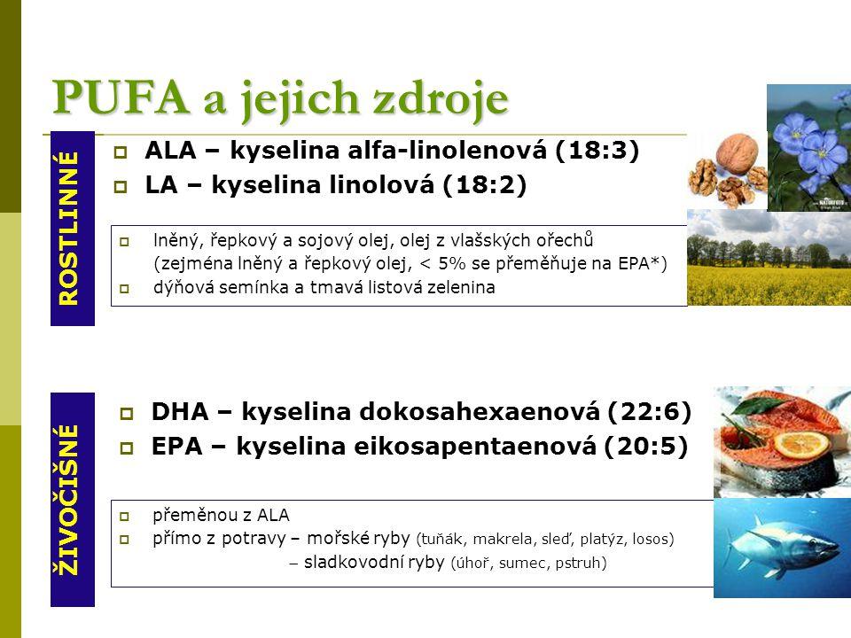 PUFA a jejich zdroje  ALA – kyselina alfa-linolenová (18:3)  LA – kyselina linolová (18:2) ROSTLINNÉ ŽIVOČIŠNÉ  lněný, řepkový a sojový olej, olej z vlašských ořechů (zejména lněný a řepkový olej, < 5% se přeměňuje na EPA*)  dýňová semínka a tmavá listová zelenina  přeměnou z ALA  přímo z potravy – mořské ryby (tuňák, makrela, sleď, platýz, losos)  sladkovodní ryby (úhoř, sumec, pstruh)  DHA – kyselina dokosahexaenová (22:6)  EPA – kyselina eikosapentaenová (20:5)