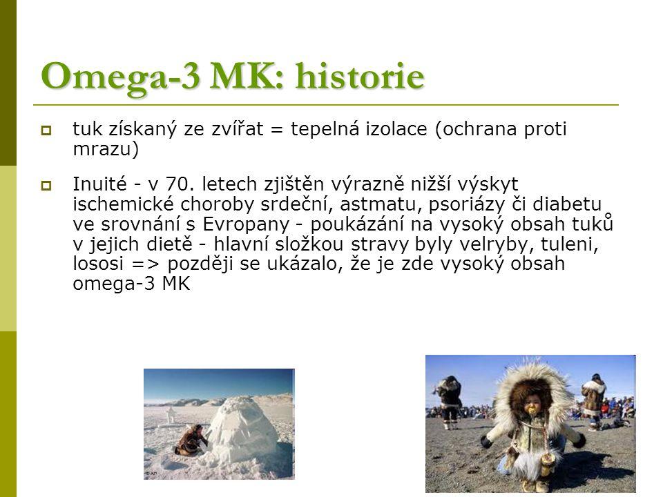 Omega-3 MK: historie  tuk získaný ze zvířat = tepelná izolace (ochrana proti mrazu)  Inuité - v 70.