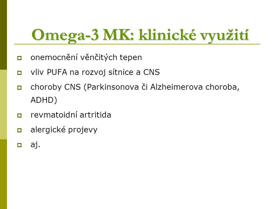 Omega-3 MK: klinické využití  onemocnění věnčitých tepen  vliv PUFA na rozvoj sítnice a CNS  choroby CNS (Parkinsonova či Alzheimerova choroba, ADHD)  revmatoidní artritida  alergické projevy  aj.
