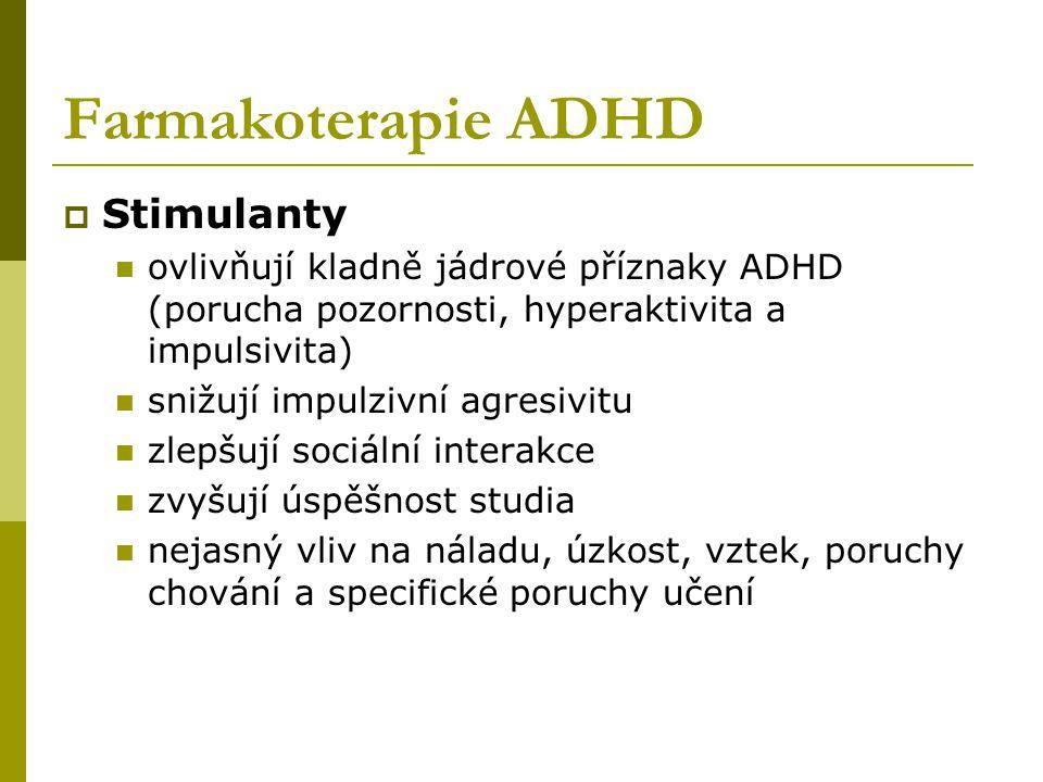 Farmakoterapie ADHD  Stimulanty ovlivňují kladně jádrové příznaky ADHD (porucha pozornosti, hyperaktivita a impulsivita) snižují impulzivní agresivitu zlepšují sociální interakce zvyšují úspěšnost studia nejasný vliv na náladu, úzkost, vztek, poruchy chování a specifické poruchy učení