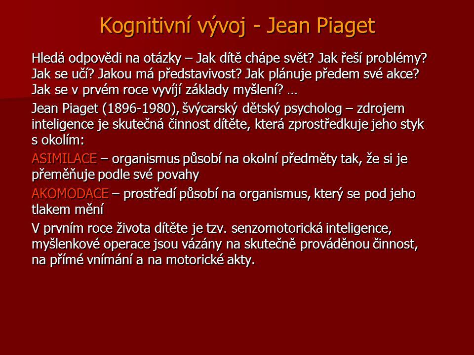 Kognitivní vývoj - Jean Piaget Hledá odpovědi na otázky – Jak dítě chápe svět? Jak řeší problémy? Jak se učí? Jakou má představivost? Jak plánuje před