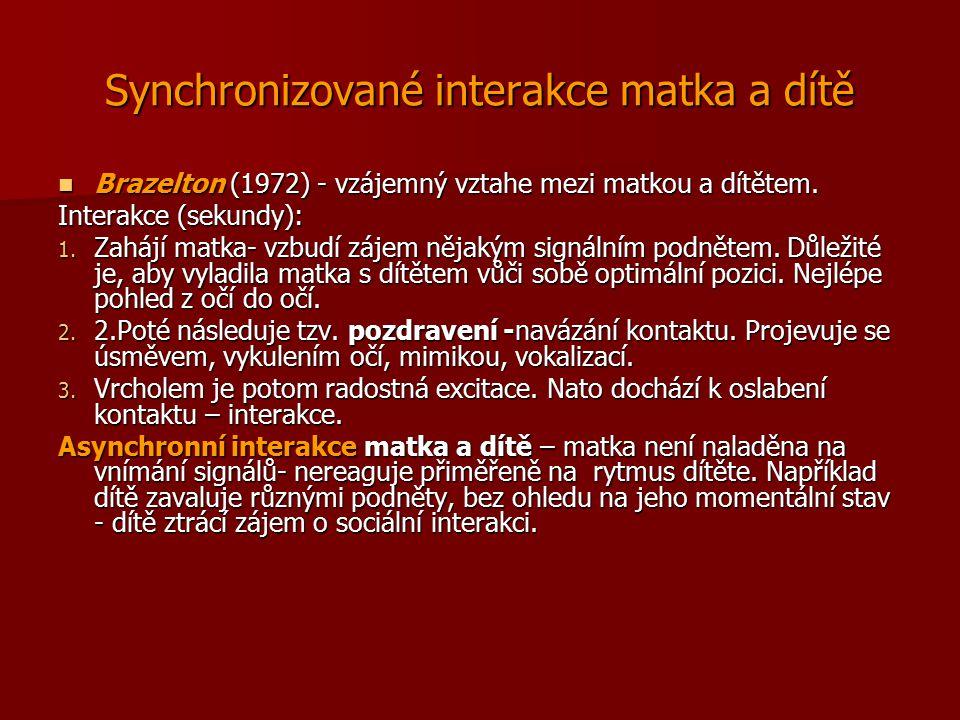 Synchronizované interakce matka a dítě Brazelton (1972) - vzájemný vztahe mezi matkou a dítětem. Brazelton (1972) - vzájemný vztahe mezi matkou a dítě