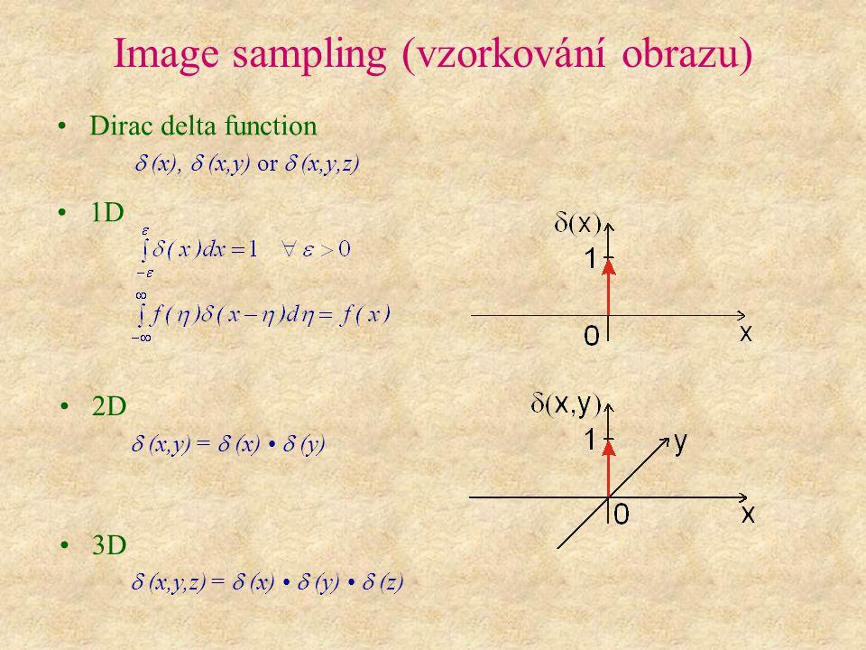 Image sampling (vzorkování obrazu) Dirac delta function  (x),  (x,y) or  (x,y,z) 1D 2D  (x,y) =  (x)  (y) 3D  (x,y,z) =  (x)  (y) 
