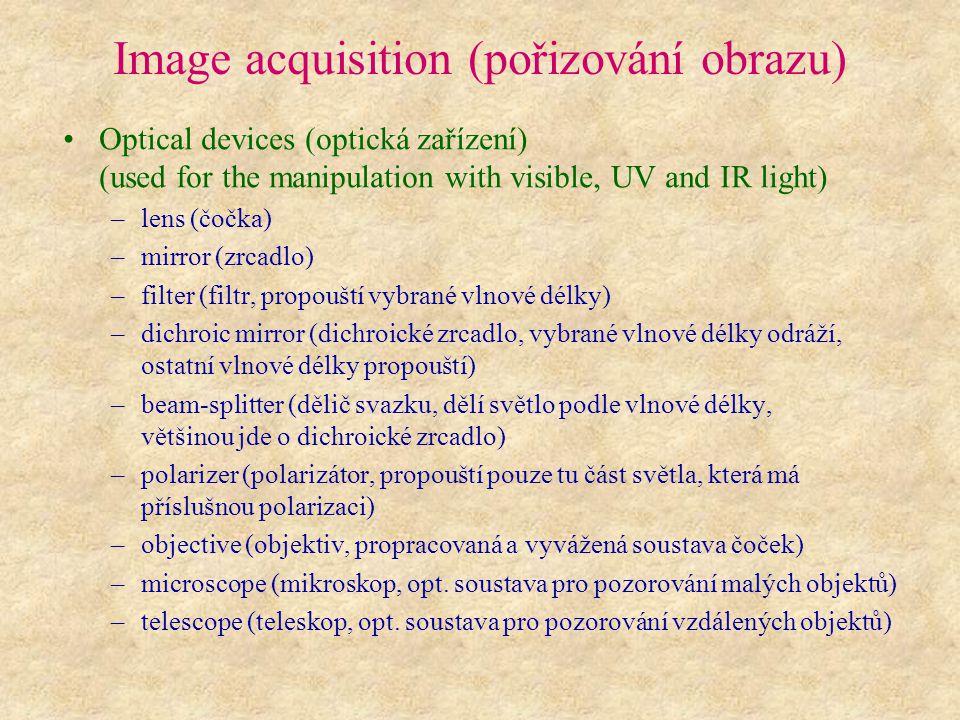 Image acquisition (pořizování obrazu) Optical devices (optická zařízení) (used for the manipulation with visible, UV and IR light) –lens (čočka) –mirr