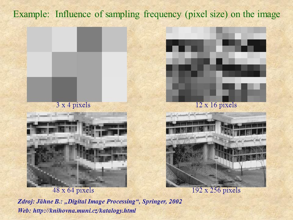 "Example: Influence of sampling frequency (pixel size) on the image 3 x 4 pixels 12 x 16 pixels 48 x 64 pixels 192 x 256 pixels Zdroj: Jähne B.: ""Digit"