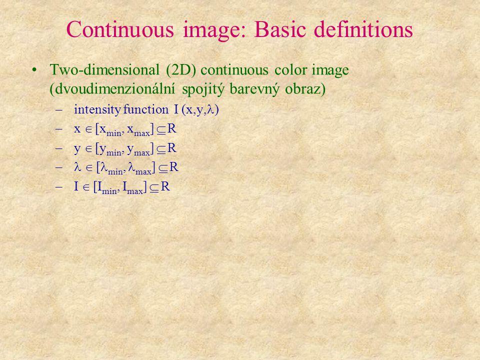 Continuous image: Basic definitions Three-dimensional (3D) continuous color image (trojdimenzionální spojitý barevný obraz) – intensity function I (x,y,z, ) – x  [x min, x max ]  R – y  [y min, y max ]  R – z  [z min, z max ]  R –  [ min, max ]  R – I  [I min, I max ]  R