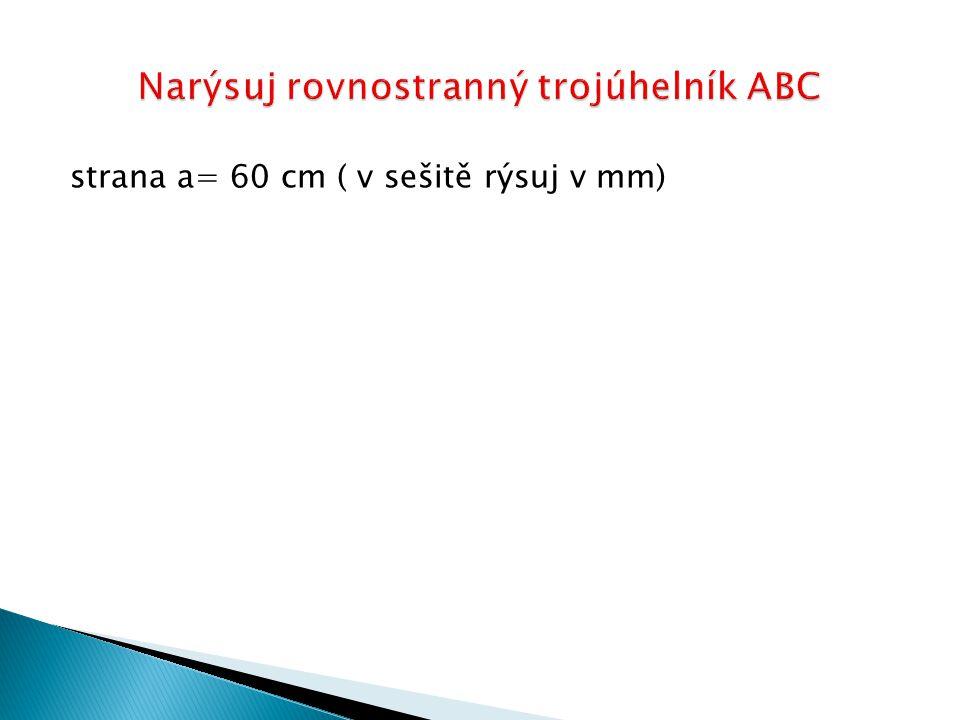 strana a= 60 cm ( v sešitě rýsuj v mm)