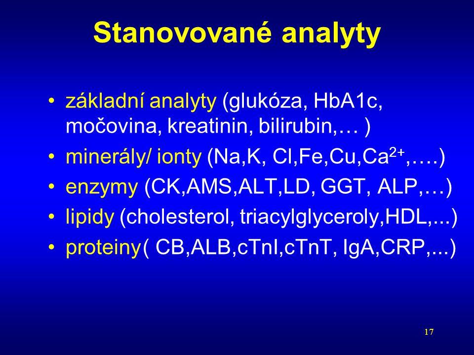 17 Stanovované analyty základní analyty (glukóza, HbA1c, močovina, kreatinin, bilirubin,… ) minerály/ ionty (Na,K, Cl,Fe,Cu,Ca 2+,….) enzymy (CK,AMS,A