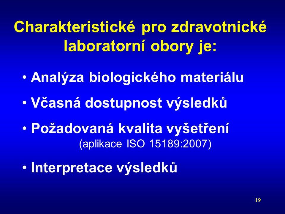 19 Charakteristické pro zdravotnické laboratorní obory je: Analýza biologického materiálu Včasná dostupnost výsledků Požadovaná kvalita vyšetření (apl
