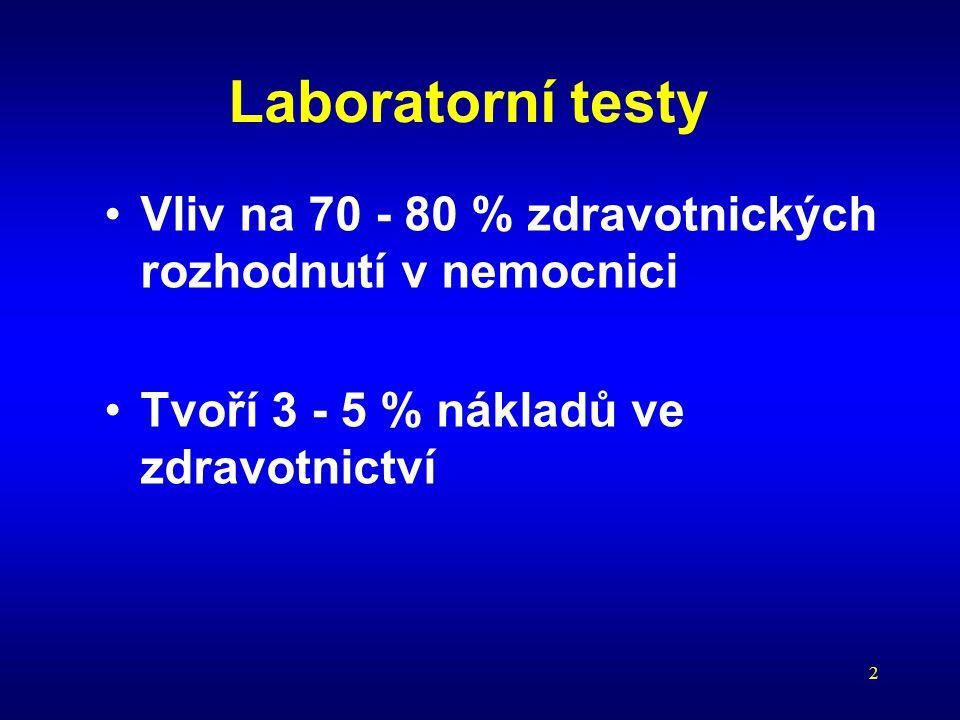 2 Laboratorní testy Vliv na 70 - 80 % zdravotnických rozhodnutí v nemocnici Tvoří 3 - 5 % nákladů ve zdravotnictví