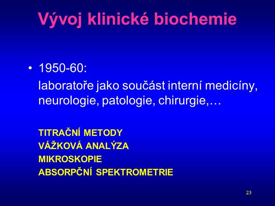 23 Vývoj klinické biochemie 1950-60: laboratoře jako součást interní medicíny, neurologie, patologie, chirurgie,… TITRAČNÍ METODY VÁŽKOVÁ ANALÝZA MIKR