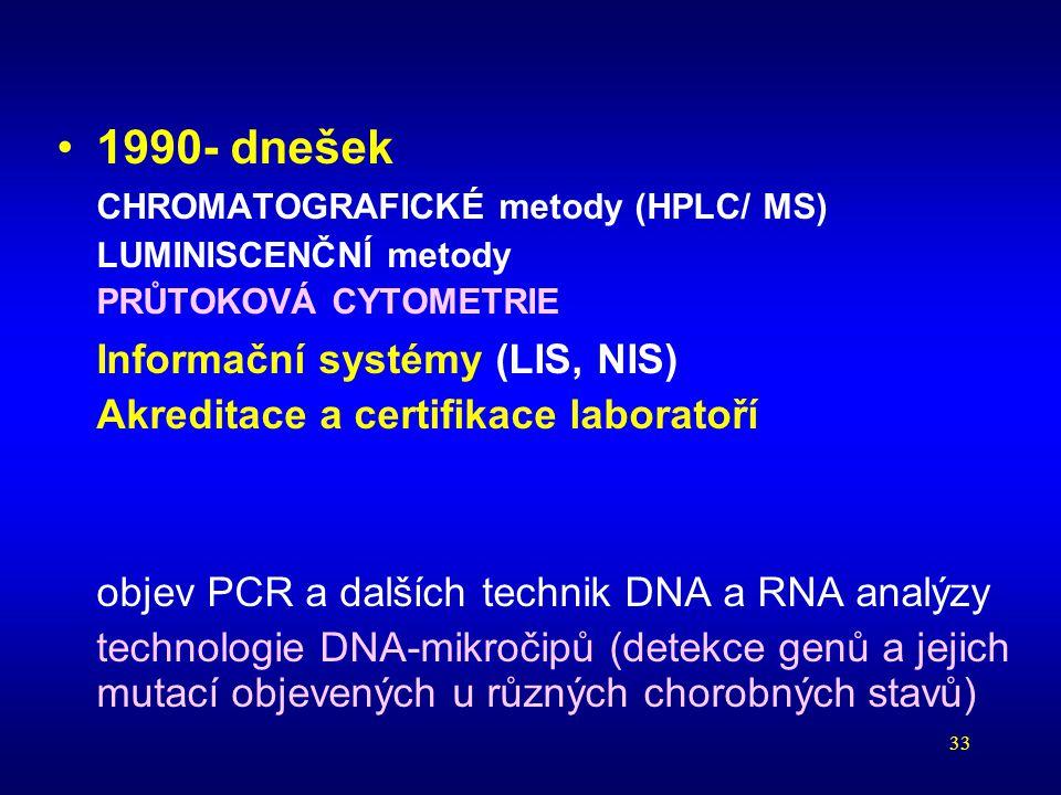 33 1990- dnešek CHROMATOGRAFICKÉ metody (HPLC/ MS) LUMINISCENČNÍ metody PRŮTOKOVÁ CYTOMETRIE Informační systémy (LIS, NIS) Akreditace a certifikace la