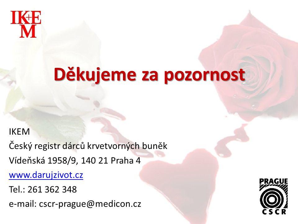 IKEM Český registr dárců krvetvorných buněk Vídeňská 1958/9, 140 21 Praha 4 www.darujzivot.cz Tel.: 261 362 348 e-mail: cscr-prague@medicon.cz Děkujem