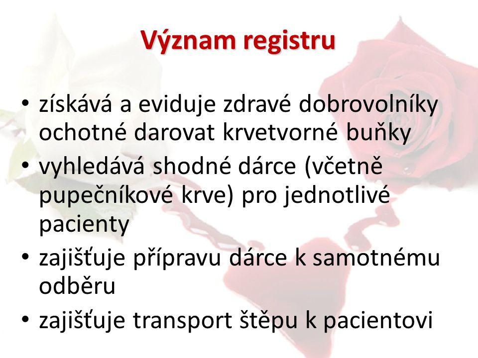 Význam registru získává a eviduje zdravé dobrovolníky ochotné darovat krvetvorné buňky vyhledává shodné dárce (včetně pupečníkové krve) pro jednotlivé