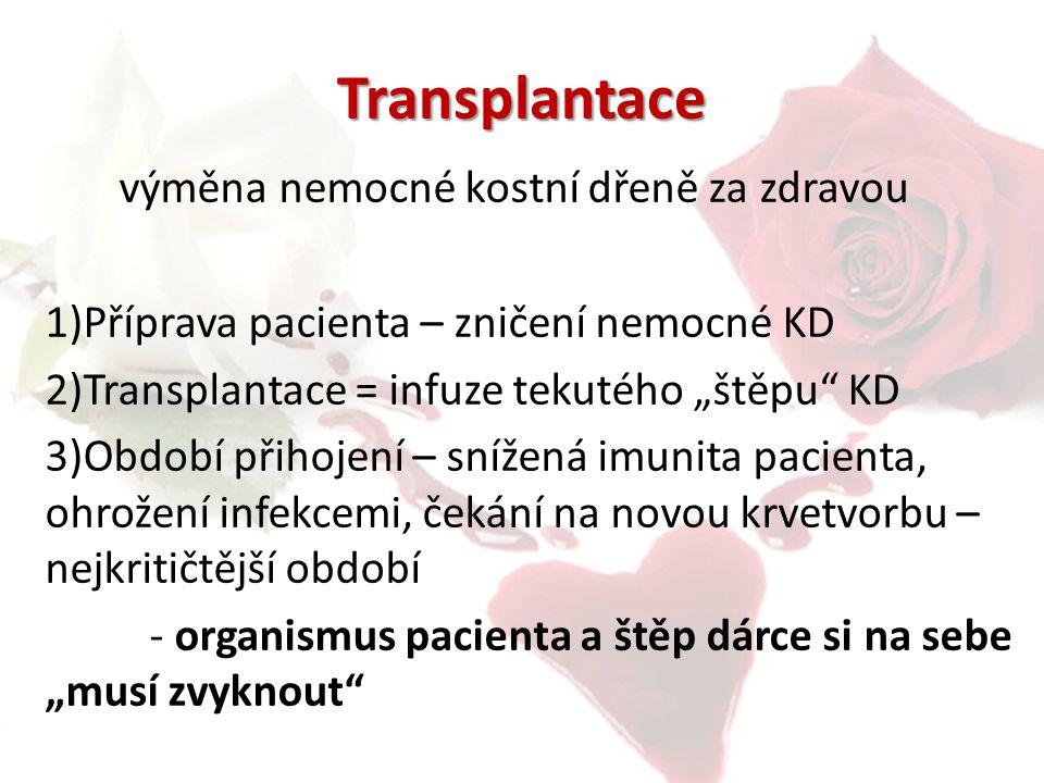 """Transplantace výměna nemocné kostní dřeně za zdravou 1)Příprava pacienta – zničení nemocné KD 2)Transplantace = infuze tekutého """"štěpu"""" KD 3)Období př"""