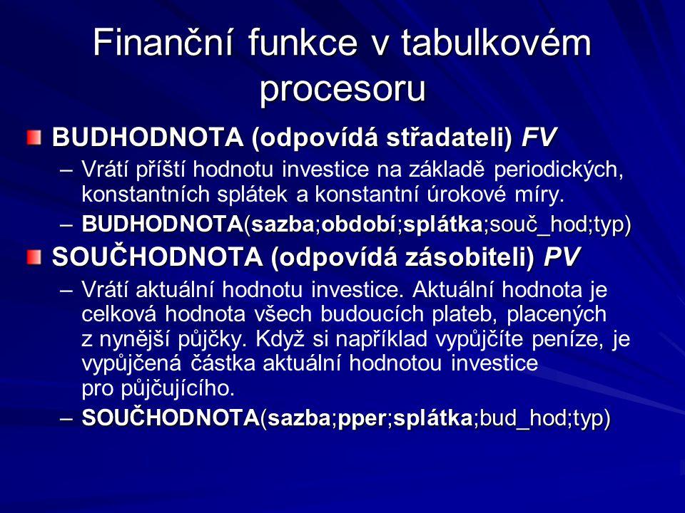 Finanční funkce v tabulkovém procesoru BUDHODNOTA (odpovídá střadateli) FV – –Vrátí příští hodnotu investice na základě periodických, konstantních splátek a konstantní úrokové míry.