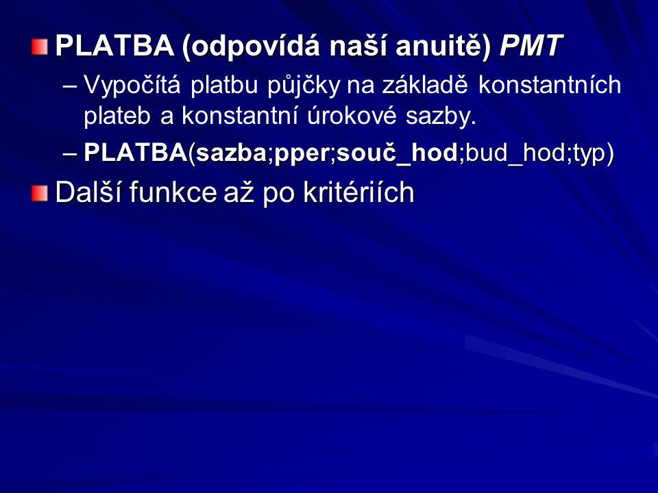 PLATBA (odpovídá naší anuitě) PMT – –Vypočítá platbu půjčky na základě konstantních plateb a konstantní úrokové sazby.