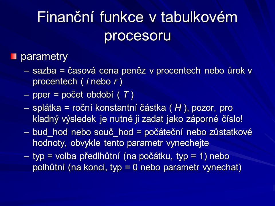Finanční funkce v tabulkovém procesoru parametry –sazba = časová cena peněz v procentech nebo úrok v procentech ( i nebo r ) –pper = počet období ( T ) –splátka = roční konstantní částka ( H ), pozor, pro kladný výsledek je nutné ji zadat jako záporné číslo.