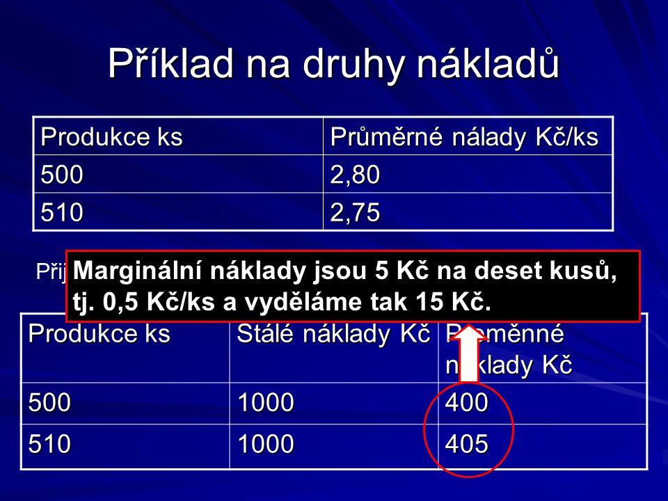 Příklad na druhy nákladů Produkce ks Průměrné nálady Kč/ks 5002,80 5102,75 Přijmeme nabídku prodat dalších 1 0 kusů za cenu 2 Kč/kus.