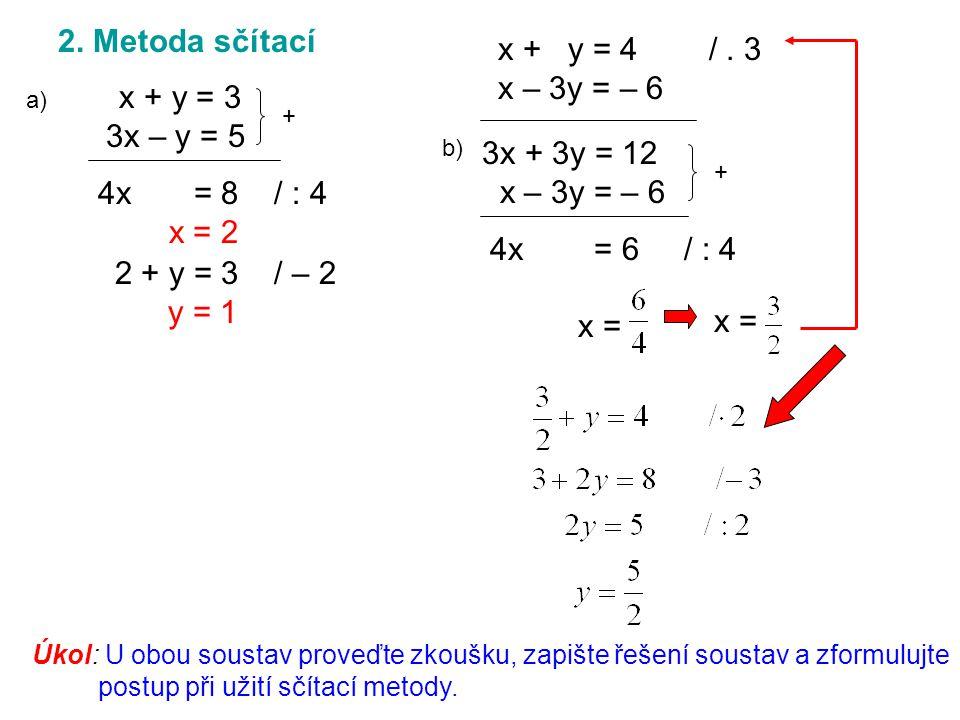 2. Metoda sčítací x + y = 3 3x – y = 5 + 4x = 8 / : 4 x = 2 2 + y = 3 / – 2 y = 1 x + y = 4 /.