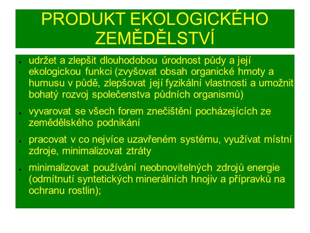 PRODUKT EKOLOGICKÉHO ZEMĚDĚLSTVÍ ● udržet a zlepšit dlouhodobou úrodnost půdy a její ekologickou funkci (zvyšovat obsah organické hmoty a humusu v půdě, zlepšovat její fyzikální vlastnosti a umožnit bohatý rozvoj společenstva půdních organismů) ● vyvarovat se všech forem znečištění pocházejících ze zemědělského podnikání ● pracovat v co nejvíce uzavřeném systému, využívat místní zdroje, minimalizovat ztráty ● minimalizovat používání neobnovitelných zdrojů energie (odmítnutí syntetických minerálních hnojiv a přípravků na ochranu rostlin);