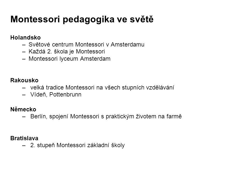 Montessori pedagogika ve světě Holandsko – Světové centrum Montessori v Amsterdamu – Každá 2. škola je Montessori – Montessori lyceum Amsterdam Rakous