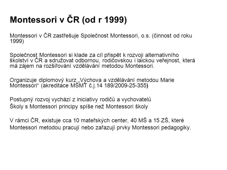 Montessori v ČR (od r 1999) Montessori v ČR zastřešuje Společnost Montessori, o.s. (činnost od roku 1999) Společnost Montessori si klade za cíl přispě