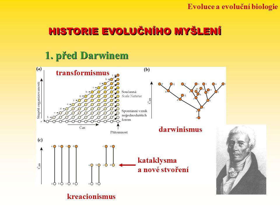 Evoluce a evoluční biologie HISTORIE EVOLUČNÍHO MYŠLENÍ 1. před Darwinem transformismus darwinismus kataklysma a nové stvoření kreacionismus